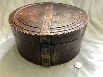 Vintage/antique Leather Hat Box Bonnet Box Rare Box!