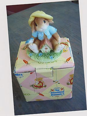 1995 My Blushing Bunnies-Bless This Home Figurine With Box