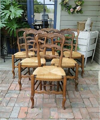 Antique French Dining Chairs Rush Seats Shells Tall Ladder Back Stretchers