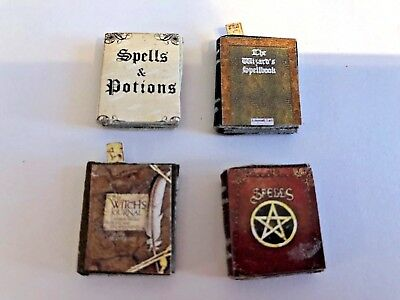 Set Of 4  Witch Or Wizards  Assorted  Spell  Books For A 1/12 Scale Dolls House