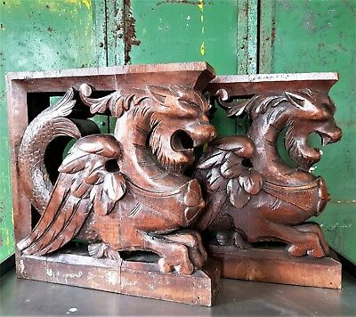 ARCHITECTURAL PAIR GOTHIC GRIFFIN CORBEL BRACKET Antique french wood carving