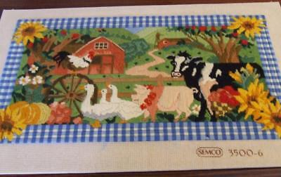 Large Hand Embroidered Semco Mounted Tapestry Panel - Sunflower Farmyard