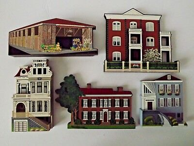 Lot Of 5 Sheila's Collectibles Houses Eclectic Blue Kentucky Home Mansion &