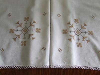 A Lovely Vintage Hand Embroidered Tablecloth - Taupe Cross Stitch Motif Pattern