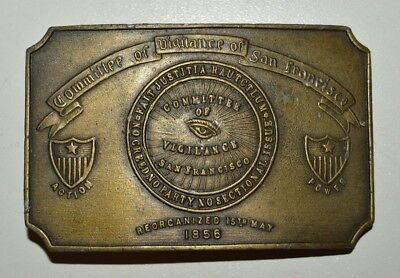 1970s Vintage Committee of Vigilance San Francisco CA Solid Belt Buckle Rare