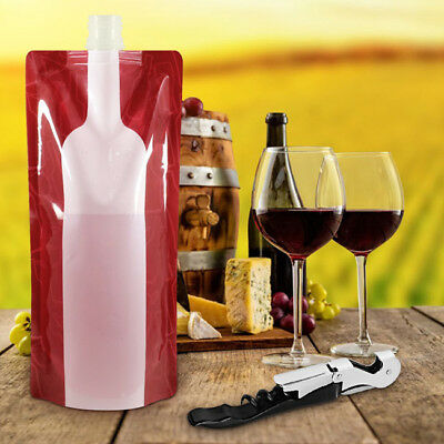 Foldable Collapsible Plastic Wine Bag Flask for Home Travel Camping Outdoor BS