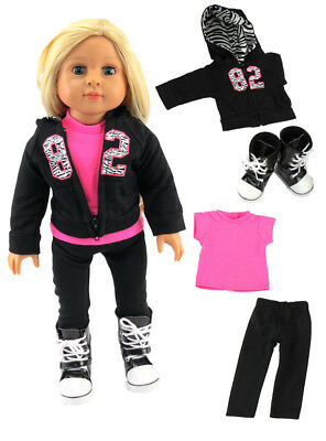 """18"""" Doll Clothes Black & Pink Hoodie, Top & Pant Set with Boots fits 18"""" Doll"""