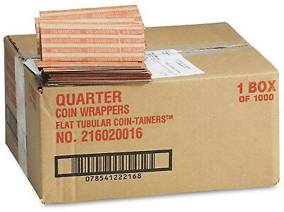 1000 Quarter Coin Wrappers Paper Tube 1,000 Count Flat Pop-Open Coin-Tainer