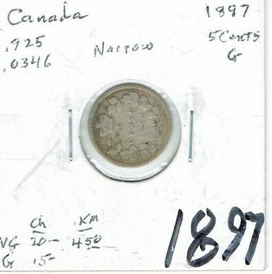 1897 Narrow 8 Canadian Circulated  Victoria Silver Five Cent Coin!