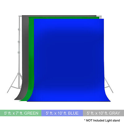 3SET Blue Green Gray  Photography Photo Video Studio Backdrop Background Muslin