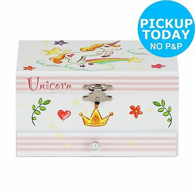Unicorn Musical Fully Lined Interior 1 Drawer Jewellery Box 6+ Years