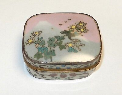 Japanese Cloisonne Enamel Fuji Mountain Floral Birds Trinket Jar Box