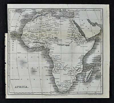c 1824 Hall Map - Africa - Cape of Good Hope Guinea Sudan Nubia Congo Madagascar