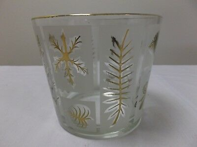 Vintage Mid-Century Libbey Glass Starlyte Frosted Gold Leaf Ice Bucket