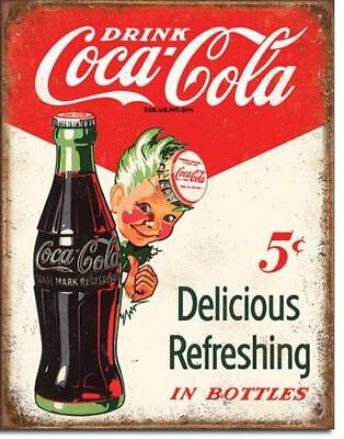Blechschild Coca Cola Boy 5Cent Bottle  Soft Drink Coke Werbung 40 x 30 cm