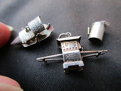 Antique Vintage Sterling Silver Chinese Boat Teapot Carriage Charm Bracelet Fob