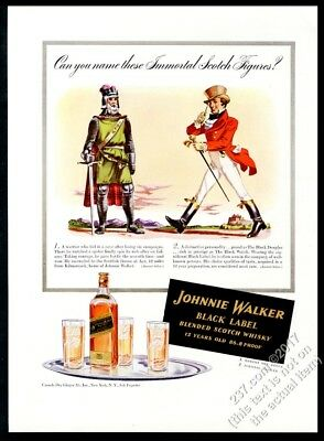1941 Robert the Bruce portrait Johnnie Walker Scotch Whisky vintage print ad