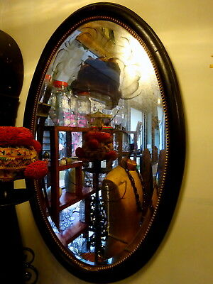 Antique Ebonised Frame Bevelled Edge Foxed Oval Wall Mirror