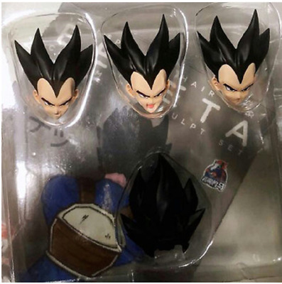 Dragonball Black 1 Hair  & 3 Head Upgrade Set FOR SHF Vegeta New