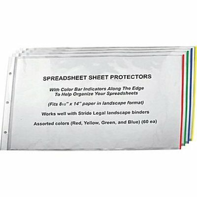 "New Stride Easy Fit Landscape Sheet Protectors w/ Color 8.5x14"" 60-Pack 61300"