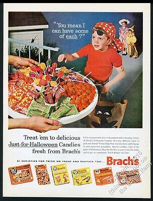 1962 Brach's Halloween candy sucker mint chocolate jelly beans vintage print ad