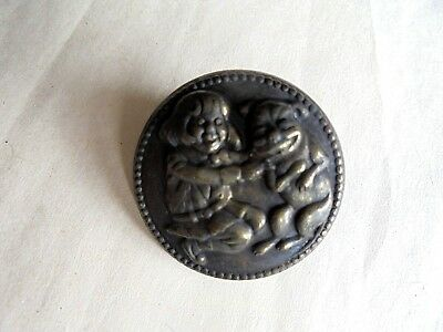 Vintage Buster Brown and Tige Comic Characters Embossed Metal Pin
