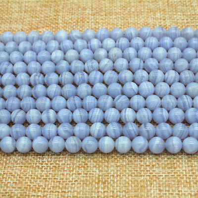Natural Chalcedony Blue Lace Agate Purple Round Beads 39-40cm 4-6-8-10-12mm
