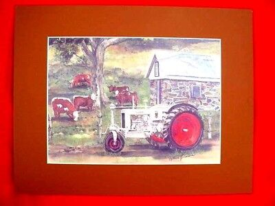 """CASE WATERCOLOR TRACTOR PRINT -  by COLLEEN CARSON - 11"""" X 14"""" MATTED BY ARTIST"""