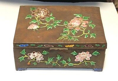 Old Nice Chinese Cloisonne Repousse Enamel Pink Roses Design Humidor Jar Box