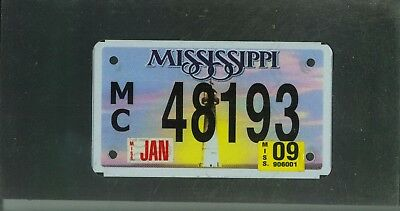 "MISSISSIPPI 2009 license plate ""48193"" ***NATURAL***MOTORCYCLE***"