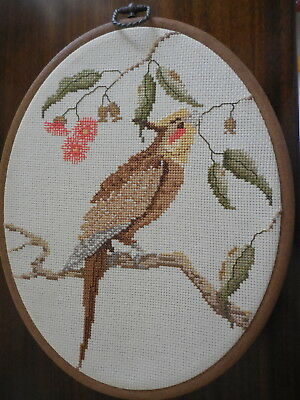 Craft Cross Stitch Australian Bird In Gum Tree Completed & Framed