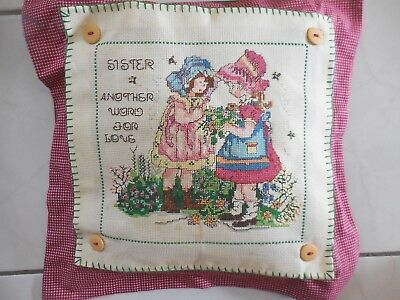 Craft Hand Made Cross Stitch Sister Cushion Completed Red Gingham