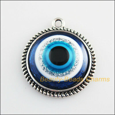 2 New Charms Round Flower Blue Eye Resin Pendants Tibetan Silver Tone 25x28.5mm
