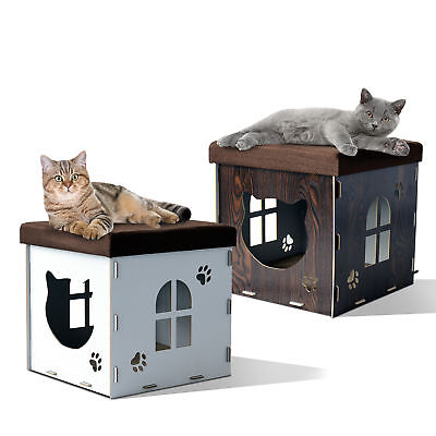 Cat Cave House Pet Medium Size Shelter Footrest Upholstered Lid Scratching Pad