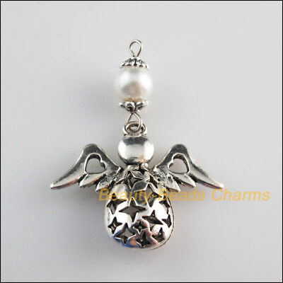 2Pcs New Charms White Glass Round Beads Angel Pendants Tibetan Silver Tone