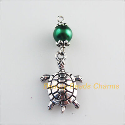 4 New Charms Green Glass Round Beads Animal Tortoise Pendant Tibetan Silver Tone