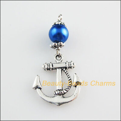 3 New Charms Blue Glass Round Beads Anchor Pendants Tibetan Silver Tone