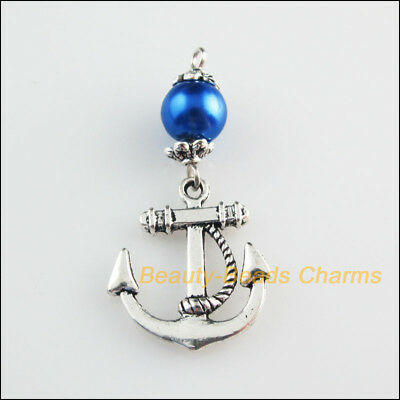 5 New Charms Blue Glass Round Beads Anchor Pendants Tibetan Silver Tone