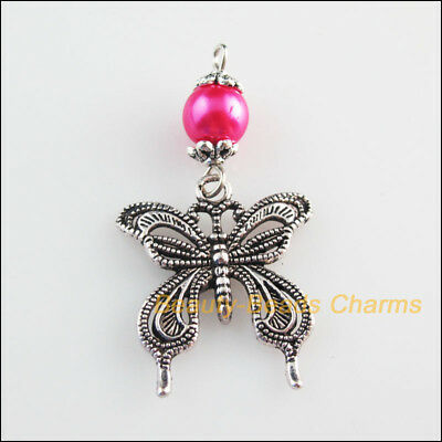 4 New Charms Hot Pink Glass Round Beads Butterfly Pendants Tibetan Silver Tone