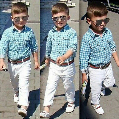Kids Boys Outfit Set Shirt Tops+Long Pants+Belt Toddlers 3PCS Clothes Clothing