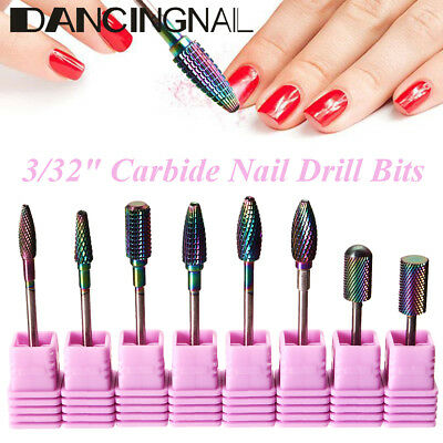 8x 3/32'' Electric Nail Drill Bit Tungsten Steel Alloy Gel Removal Manicure Tool