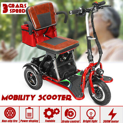 Foldable Tricycle électrique Mobility Scooter 3 WHEEL 12 mph 300W With LED Light