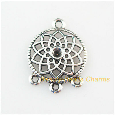 6 New Charms Round Flower Tibetan Silver Tone Pendants Connectors 18x24.5mm