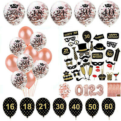 Happy Birthday Balloons Bunting Banner 1 60th Party Rose Gold Series Decor