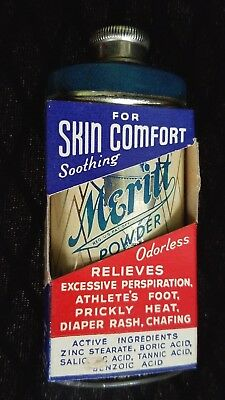 Old Advertising Tin Meritt Powder Meritt Chemical Co Greensboro NC NOS Unopened