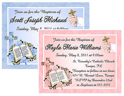 20 BAPTISM CHRISTENING INVITATIONS ~ PERSONALIZED blue or pink