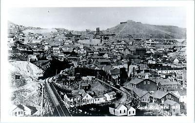 RPPC GOLD HILL, NV Nevada    BIRDSEYE of MINING TOWN (1873)  c1950s     Postcard