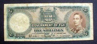 FIJI ~ KING GEORGE VI ~  5 SHILLINGS 1941 f.