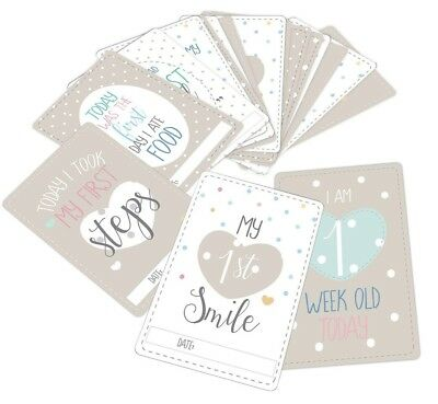 20 Assorted Baby Milestone Cards , Oh Baby Shower , New Baby Gift , Unisex