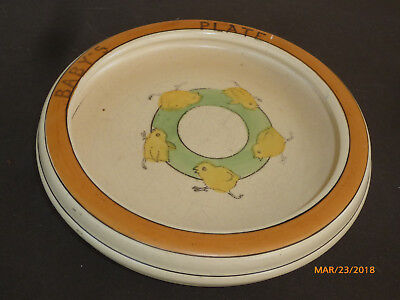 Antique Early Roseville Pottery Baby Chicks Dish Child's Plate
